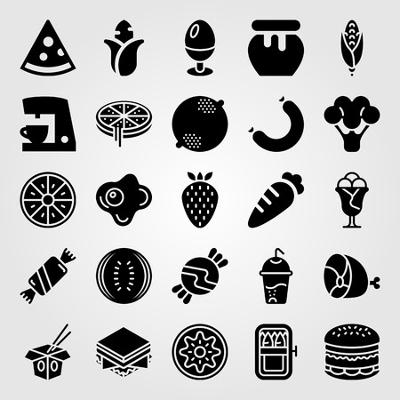 Food And Drinks vector icon set. meat, ham, pizza and watermelon Vectores