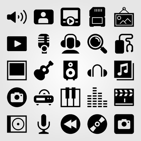 Multimedia vector icon set. Mic, memory, user and sound bars. Çizim