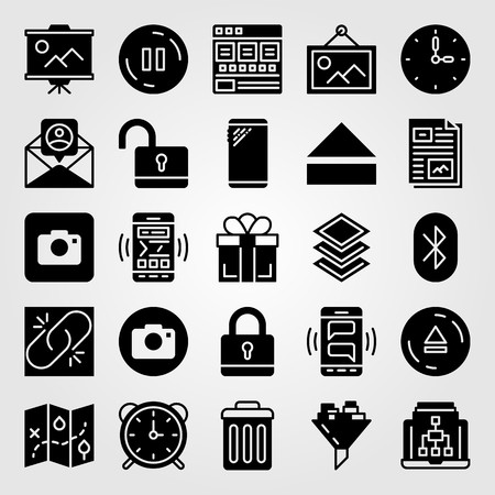 Essentials icon set vector. gift, photo camera, unlock and presentation Ilustrace