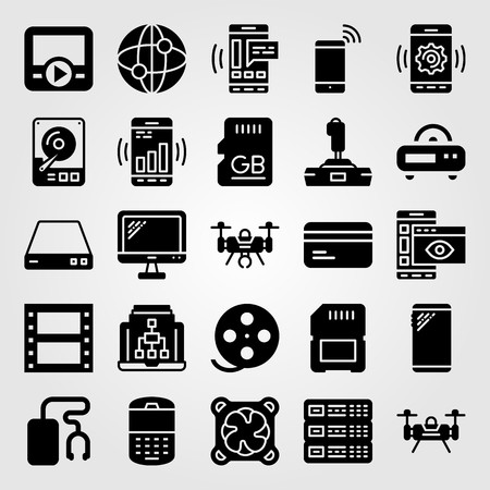 Technology icon set vector. music player, monitor, radio and memory