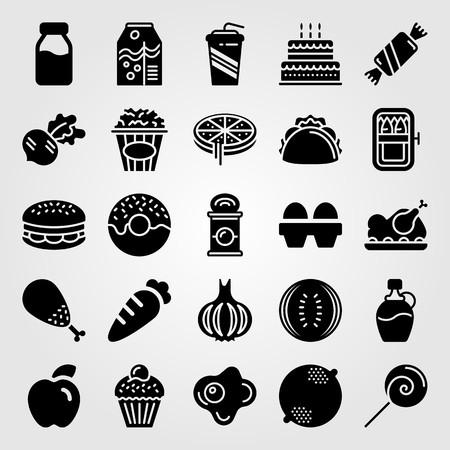 Food And Drinks icon set vector. apple, sardines, cake and birthday cake