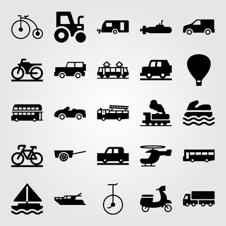 Transport vector icon set. hot air balloon, cart, tram and car