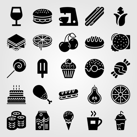 Food And Drinks vector icon set includes cherries, candy, coffee maker and ice cream. Vectores