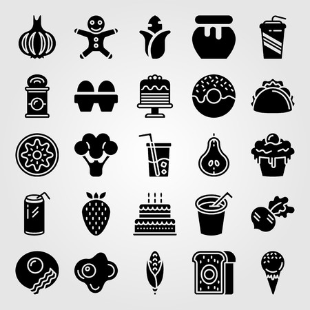 Food And Drinks icon set includes broccoli, strawberry, eggs and ice cream.