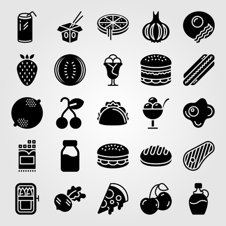 Food And Drinks vector icon set includes cherries, pizza, burger and cherry. Ilustracja