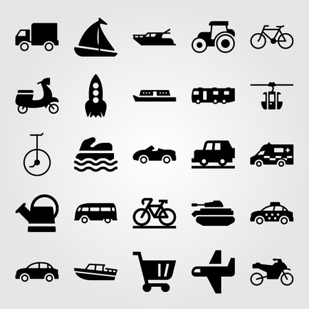Transport vector icon set includes taxi, caravan, motorbike and unicycle. Vettoriali