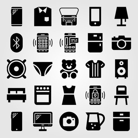 Shopping icon set includes dress, sport shirt, shirt and tv.