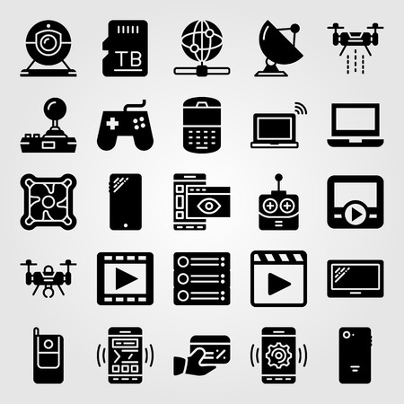 Technology vector icon set includes radar, movie player, sattelite and remote control.