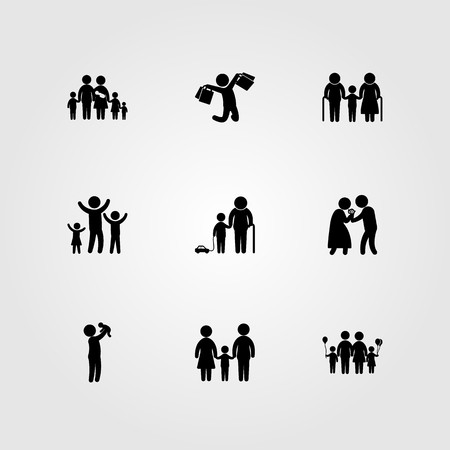 Humans icon set includes grandson, big family, dad and love. Иллюстрация