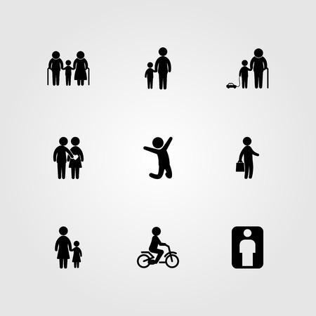 Humans icon set vector. business, child, family and mother and son Çizim