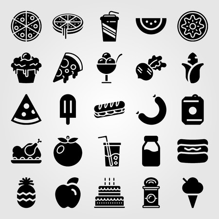 Food And Drinks vector icon set includes can, sandwich, drink and watermelon.