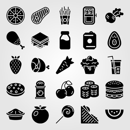 Food and drinks vector icon set. Cupcake, tomato, steak and sushi. Çizim