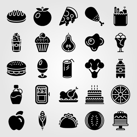 Food And Drinks icon set includes burger, cake, pear and egg.
