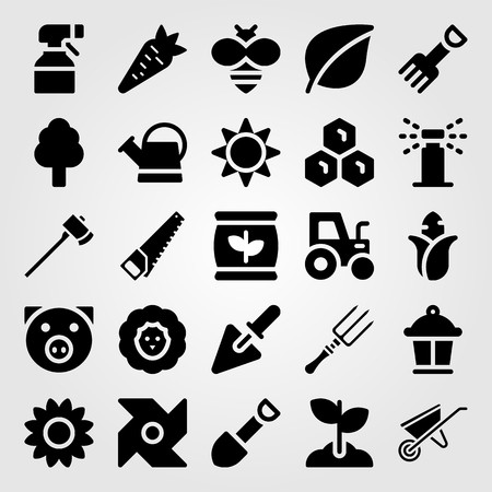 Garden icon set includes can, sheep, handsaw and honeycomb.