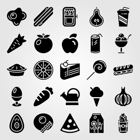 Food And Drinks vector icon set includes burito, pear, carrot and milk.