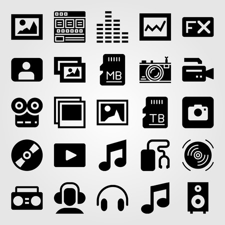 Multimedia vector icon set includes sd card, boombox, speaker and picture.