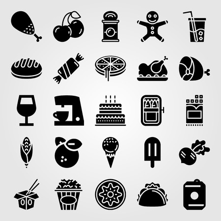 Food And Drinks vector icon set includes bread, can, pizza and orange.