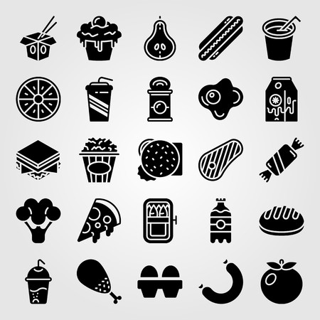 Food And Drinks icon set includes orange, bread, sausage and popcorn. Illustration