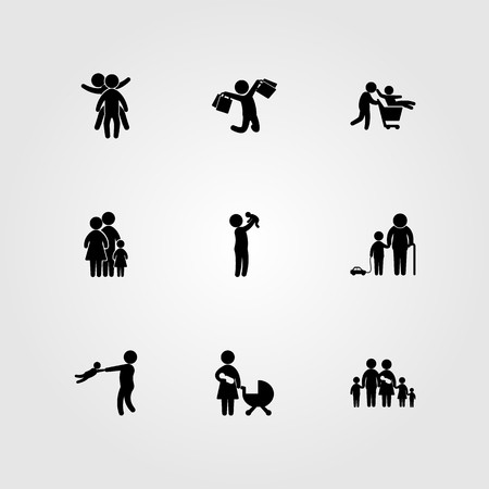 Humans icon set includes grandson, baby, family and childen.