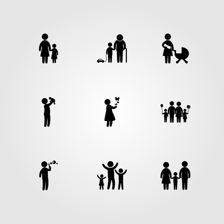 Humans icon set includes baby, father, girl and mother with baby.