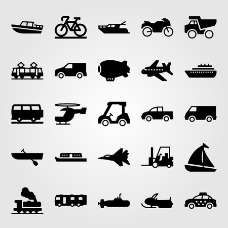 Transport vector icon set includes bicycle, taxi, golf car and golf.