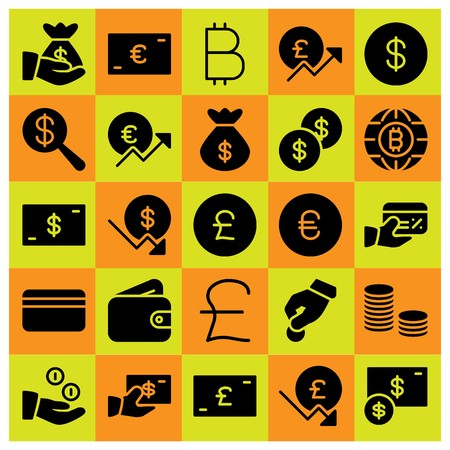 Money icon set vector. dollar coin, coins, credit card and pound sterling