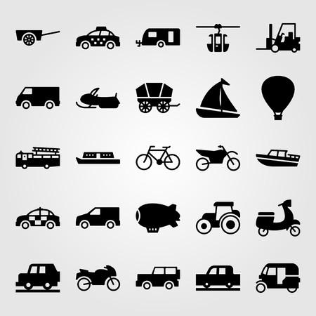 Transport vector icon set includes taxi, caravan, sport bike and hot air balloon. Stok Fotoğraf - 94249829