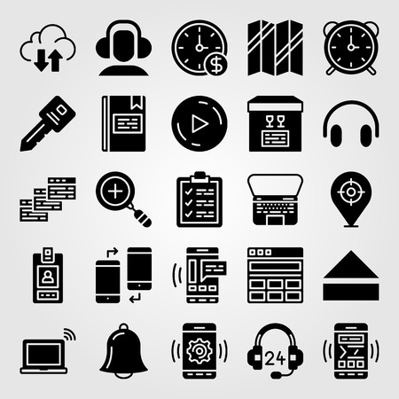 Essentials icon set vector includes key, clipboard, wall clock and id card. Illustration