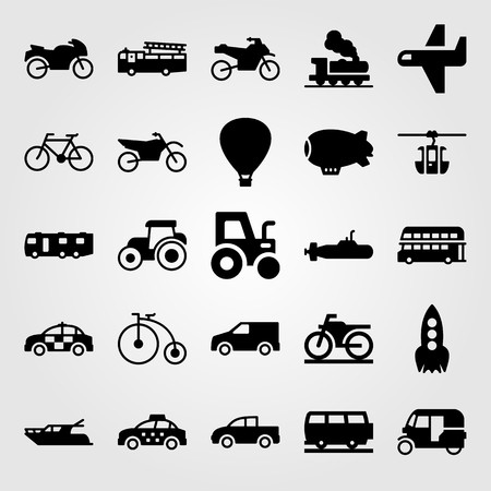 Transport vector icon set includes taxi, bicycle, yatch and police car. Stok Fotoğraf - 94249835