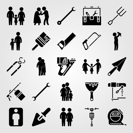 Tools icon set vector. human, pliers, spanner and love