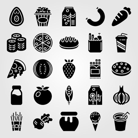 Food And Drinks icon set vector. soft drink, orange juice, milk bottle and radish
