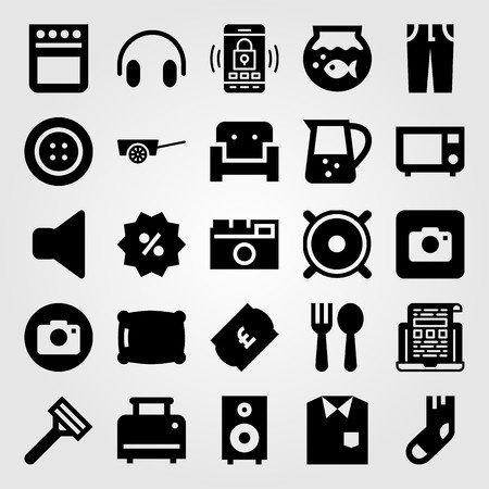 Shopping vector icon set includes microwave oven, button, mute and cart.