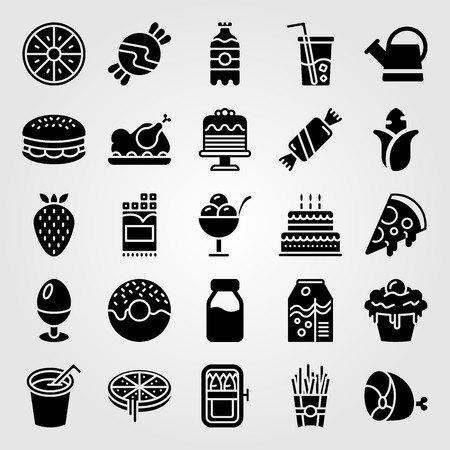 Food And Drinks icon set includes burger, cake, soft drink and meat.