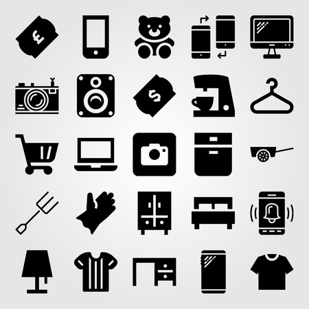 Shopping vector icon set. laptop, oven, smartphone and glove