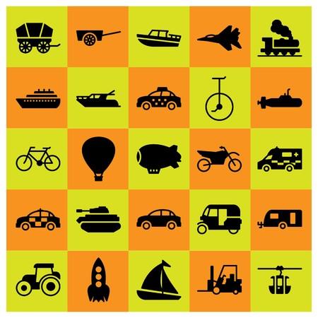 Transport icon set vector. hot air balloon, rocket, ambulance and bicycle