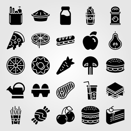 Food and drinks icon set vector. Burger, can, mushroom and cherries.