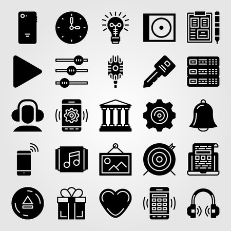 Essentials icon set vector. Smartphone, bank, target and heart. Illustration