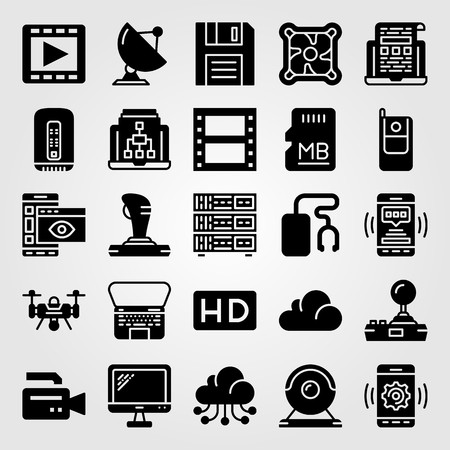 Technology vector icon set. cloud computing, memory, drone and video camera