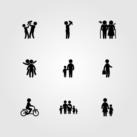 Humans icon set vector. big family, business, old man and two child's playing Çizim