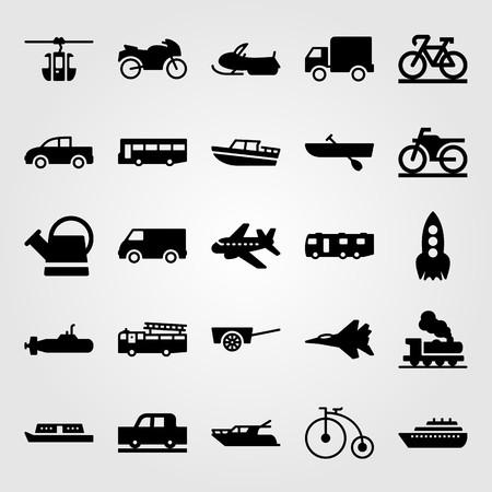 Transport vector icon set includes .ship, car, van and caravan.