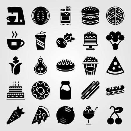 Food and drinks vector icon set. Coffee cup, cherry, watermelon and burger.