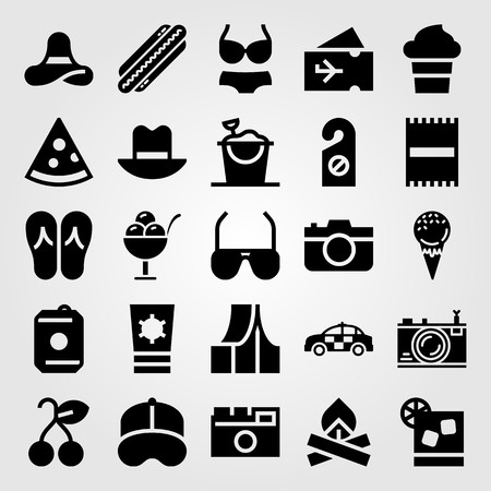 Summertime vector icon set. Plane ticket, cap, tent and photo camera.