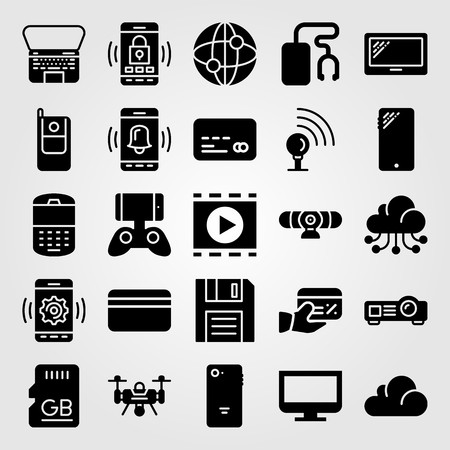 Technology vector icon set. Memory, music player, credit card and internet. Ilustração