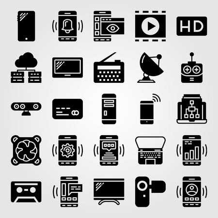 Technology icon set includes radar, movie player, remote control and camera.