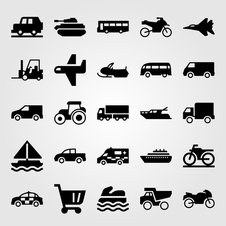 Transport vector icon set includes pickup truck, lorry, motorcycle and sport bike.