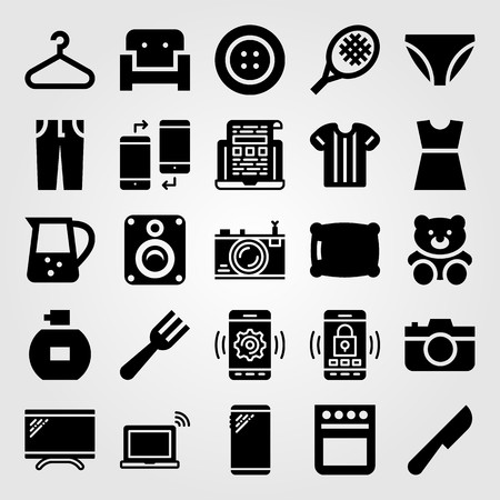 Shopping vector icon set. Toy, couch, knickers and speaker. Çizim