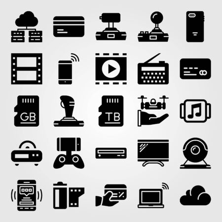 Technology icon set vector. Monitor, memory, drone and TV. Çizim