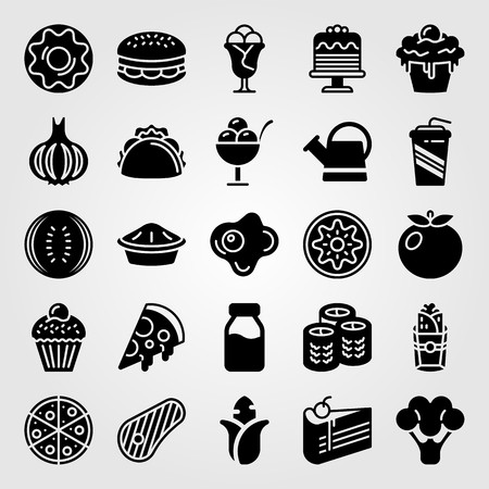 Food and drinks icon set vector. Fried egg, pizza, meat and steak. Çizim