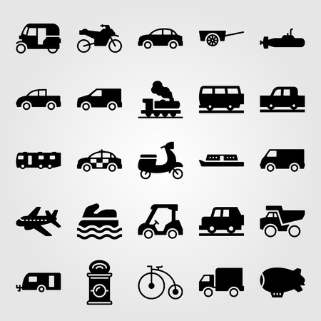 Transport vector icon set. Airplane, pickup truck, can and police car.