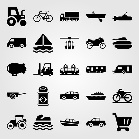 Transport vector icon set. Pickup truck, motorbike, boat and truck. Çizim